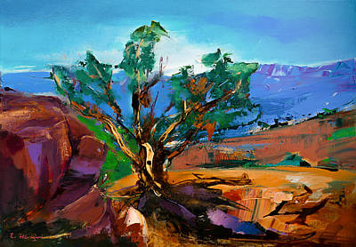 Cathedral Rock Painting - Among The Red Rocks - Sedona by Elise Palmigiani
