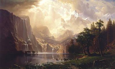 Among The Sierra Nevada, California, 1868 Art Print by Albert Bierstadt