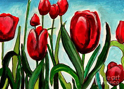 Among The Tulips Print by Elizabeth Robinette Tyndall