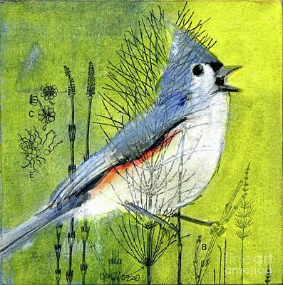 Titmouse Mixed Media - Among The Weeds by Dawn Marie Rozzo