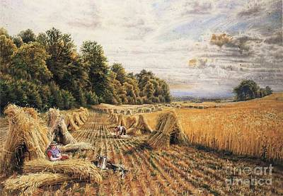File Painting - Amongst The Corn Stooks by MotionAge Designs