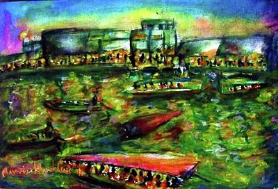 Ampawa Night River Market Art Print