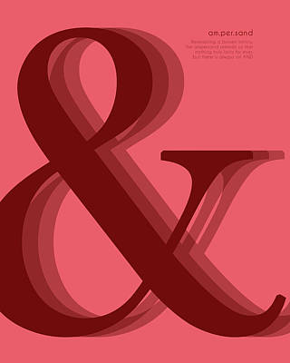 Mixed Media - Ampersand 1 - Red - And Symbol - Minimalist Print by Studio Grafiikka