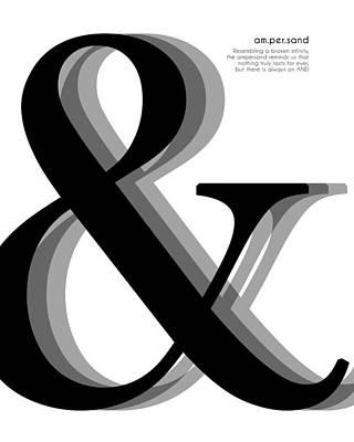 Mixed Media Royalty Free Images - Ampersand - And Symbol - Minimalist Print Royalty-Free Image by Studio Grafiikka
