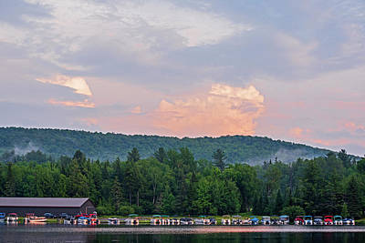 Photograph - Ampersand Bay Sunset Over The Boats Saranac Lake New York by Toby McGuire