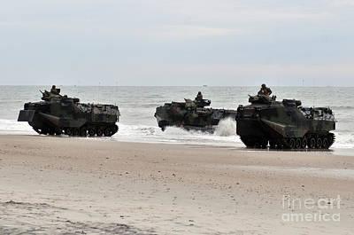 Ashore Painting - Amphibious Assault Vehicles Come Ashore by Celestial Images