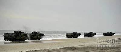 Way Painting - Amphibious Assault Vehicles Make Their Way Toward The Shore by Celestial Images