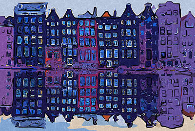 Amsterdam Digital Art - Amsterdam Abstract Architecture. Home Decor Wall Art Digital Painting Print By Akos Horvath by Akos Horvath