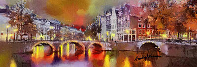 Amsterdam At Night Print by Anthony Caruso