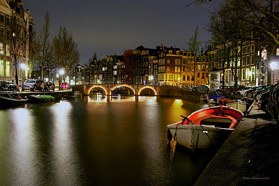 Photograph - Amsterdam At Night by Peter Kennett