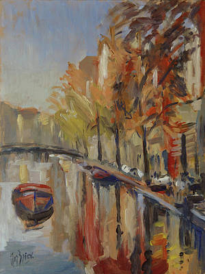 Autumn Painting - Amsterdam Autumn With Boat by Nop Briex