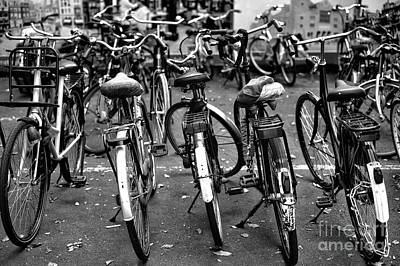 Bicycle Photograph - Amsterdam Bike View Mono by John Rizzuto