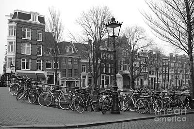 Photograph - Amsterdam Bikes Black And White by Carol Groenen