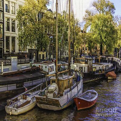 Photograph - Amsterdam Boats by Jean OKeeffe Macro Abundance Art