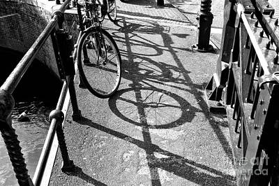 Photograph - Amsterdam Bridge Shadows Mono by John Rizzuto