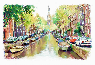 Scenery Mixed Media - Amsterdam Canal 2 by Marian Voicu