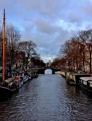 Cargo Boats - Amsterdam Canal at Dusk by Stacie Gary