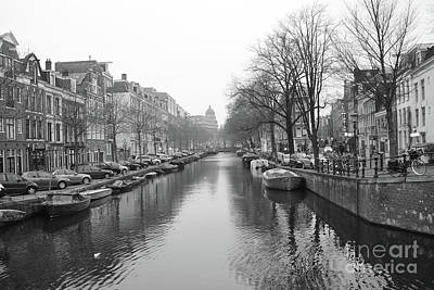 Photograph - Amsterdam Canal Black And White 2 by Carol Groenen