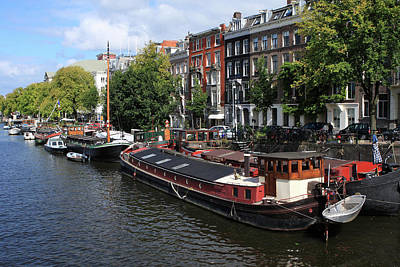 Photograph - Amsterdam Canal Boats by Aidan Moran