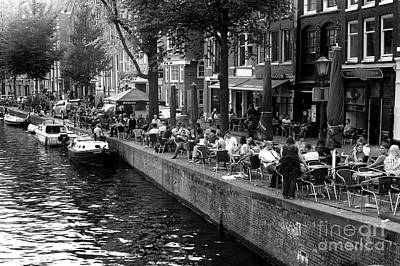 Photograph - Amsterdam Canal Dining 2014 by John Rizzuto