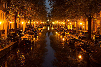 Photograph - Amsterdam Canal In Golden Yellow by Georgia Mizuleva