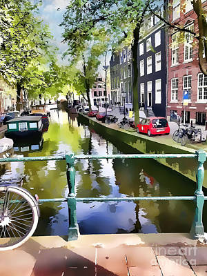 Digital Art - Amsterdam Canal by Judy Palkimas