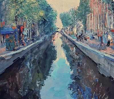 Amsterdam Digital Art - Amsterdam Canal Life by Yury Malkov