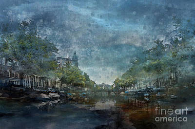 Nederland Digital Art - Amsterdam Canal With Houses And Boats by Barbara Dudzinska