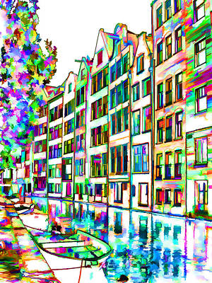 Lodging Painting - Amsterdam Canals And Typical Houses by Lanjee Chee