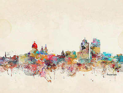 Painting - Amsterdam City Skyline by Bleu Bri