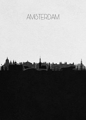 Drawing - Amsterdam Cityscape Art by Inspirowl Design