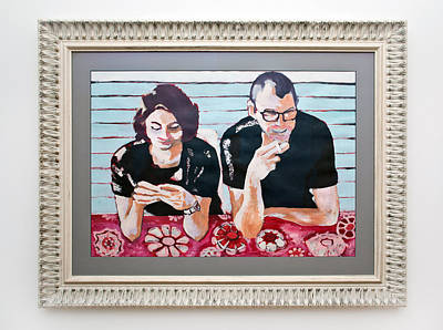 Conversation Mixed Media - Amsterdam Couple by Maya Albina Morella
