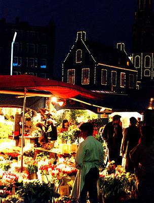 Amsterdam Flower Market Original by Nancy Mueller
