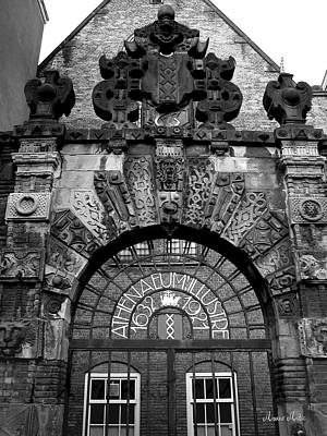 Amsterdam Gate Black And White Art Print by Marko Mitic