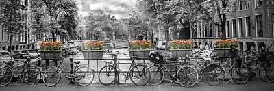 Waterside Photograph - Amsterdam Gentlemen's Canal Panoramic View by Melanie Viola