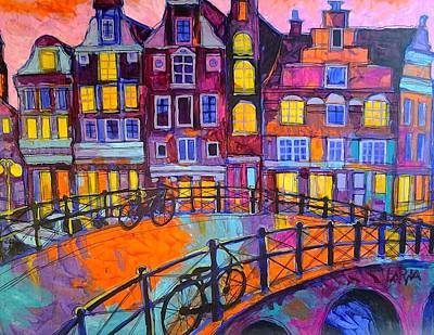 City Lanscape Painting - Amsterdam by Lora Monz