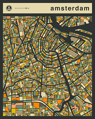 Amsterdam Digital Art - Amsterdam City Map by Jazzberry Blue