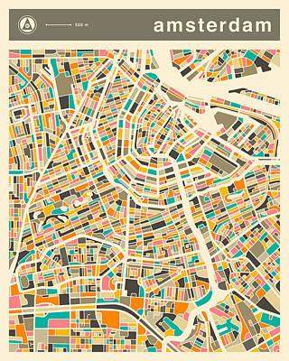 Amsterdam Digital Art - Amsterdam Map 2 by Jazzberry Blue