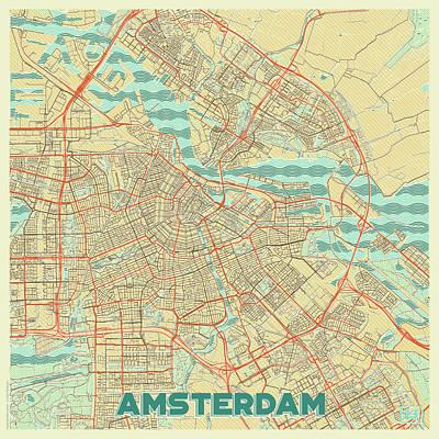 Amsterdam Digital Art - Amsterdam Map Retro by Hubert Roguski