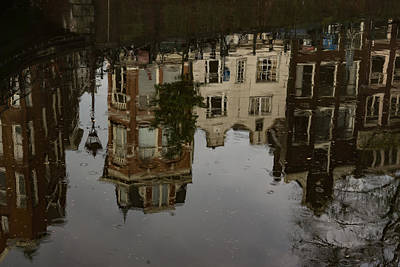 Photograph - Amsterdam - Moody Canal Reflections In The Rain by Georgia Mizuleva