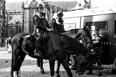 Amsterdam Mounted Police Mono Art Print by John Rizzuto