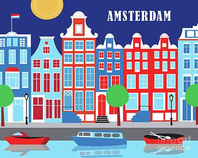 Amsterdam Digital Art - Amsterdam Netherlands Horizontal Scene by Karen Young