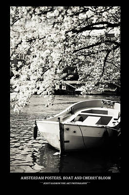 Photograph - Amsterdam Posters. Boat And Cherry Bloom by Jenny Rainbow