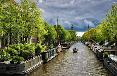 Photograph - Amsterdam Prinsengracht Canal With Green Trees by Matthias Hauser