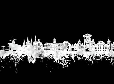 Abstract Skyline Royalty-Free and Rights-Managed Images - Amsterdam Skyline Black And White 2 by Bekim Art