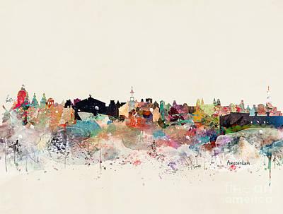 Painting - Amsterdam Skyline by Bleu Bri