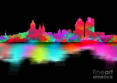 Landmarks Digital Art - Amsterdam Skyline - Night Art by Prar Kulasekara