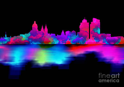 Landmarks Digital Art - Amsterdam Skyline - Pink Blue by Prar Kulasekara