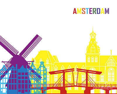 Netherlands Painting - Amsterdam Skyline Pop by Pablo Romero