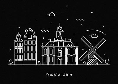 Abstract Landscape Drawing - Amsterdam Skyline Travel Poster by Inspirowl Design